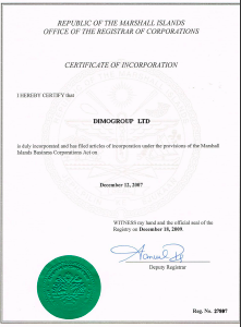 DIMOGROUP.NET CERTIFICATE OF INCORPORATION